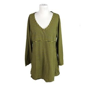 Cut Loose XL Striped V Neck Tunic Dress Lagenlook